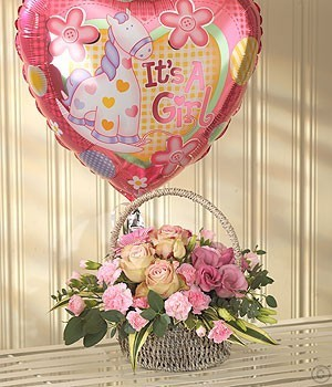 Pink Bundle Gift Set (Flowers & Balloon)