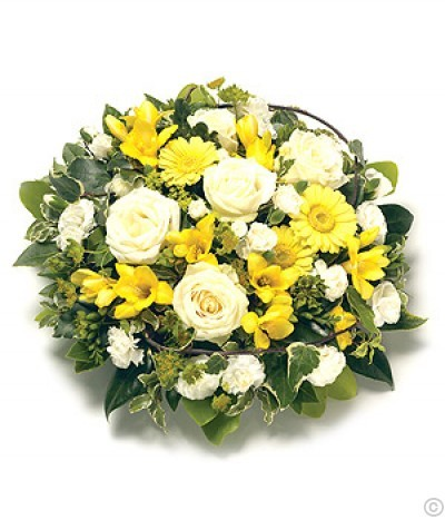 Posy Arrangement - Yellow & White