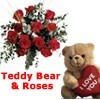 12 Red Roses & Teddy Bear