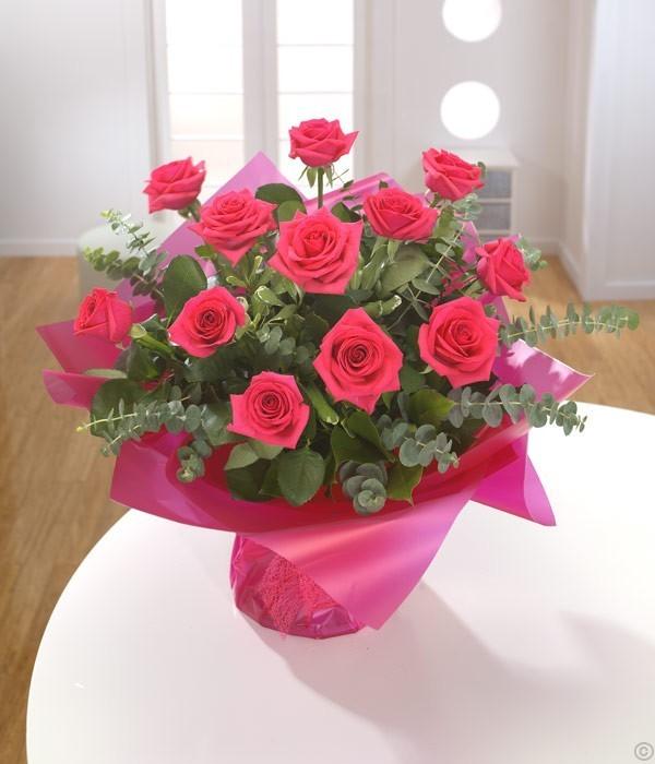 A Dozen Cerise Roses